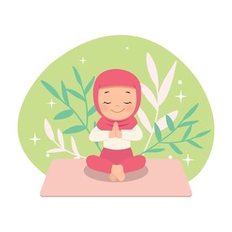 Hijab mädchen in namaste yoga pose. übung für einen gesunden lebensstil. flaches karikaturdesign lokalisiert auf weiß