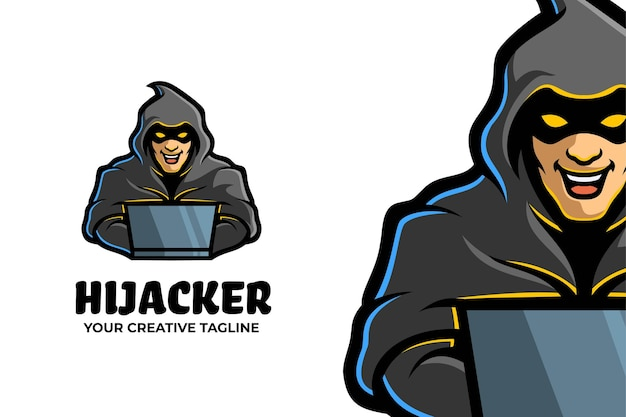 Hijacker-maskottchen-logo-charakter