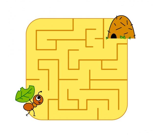 Hilf dem ameisenbaby, den weg zum ameisenhaufen zu finden. labyrinth. labyrinth-spiel für kinder. puzzle.