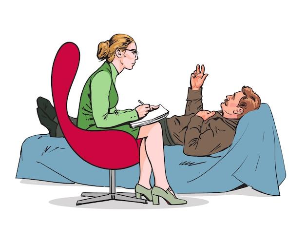 Hilf dem psychologen. psychotherapie. beratender psychologe arzt. der psychologe hört auf den patienten. der psychologe bewertet den patienten. der psychologe löst das problem. ärztliche beratung.