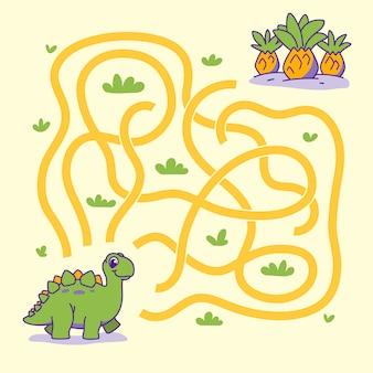 Hilf dem süßen dino, den richtigen weg zur pflanze zu finden. labyrinth. labyrinth-spiel für kinder. illustration