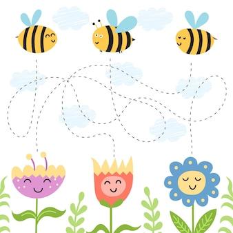 Hilf den bienen, den weg zu den blumen zu finden