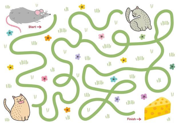 Hilf der süßen maus, den richtigen weg zum käse zu finden labyrinth-puzzle für kinder aktivitätsseite mit einem lustigen ratten-minispiel mini