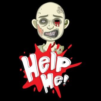 Hilf mir beim textdesign mit gruseligem zombie