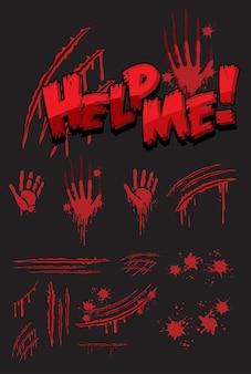 Hilf mir textgestaltung mit blutigen handabdrücken