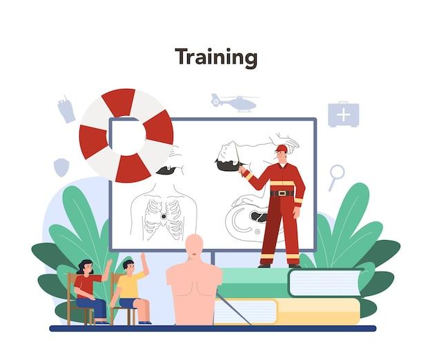 Hilfe für dringlichkeitsretter. rettungsschwimmer in uniform, der der verletzten person erste hilfe leistet.