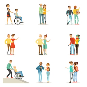Hilfe und pflege für behinderte menschen. karikatur detaillierte bunte illustrationen