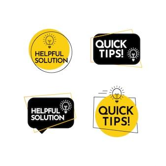 Hilfe vollständige lösung, quick tips textetikett vektorvorlage design illustration