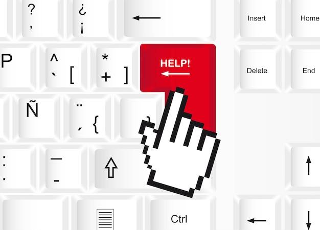 Hilfeknopf über tastaturhintergrund, vektorillustration