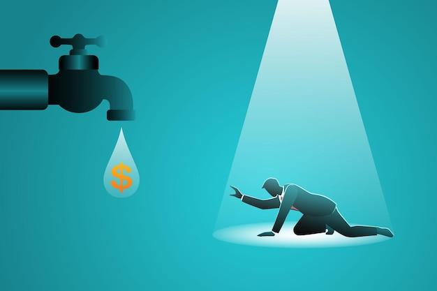 Hilfloser geschäftsmann, der schwierigkeiten hat, geld zu erreichen, das vom wasserhahn gefallen ist