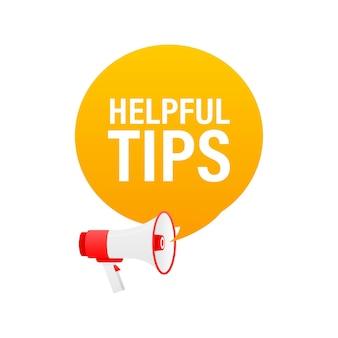 Hilfreiche tipps megaphon gelbes banner im 3d-stil auf weiß