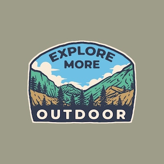 Hill und berg vintage abzeichen etikett illustration