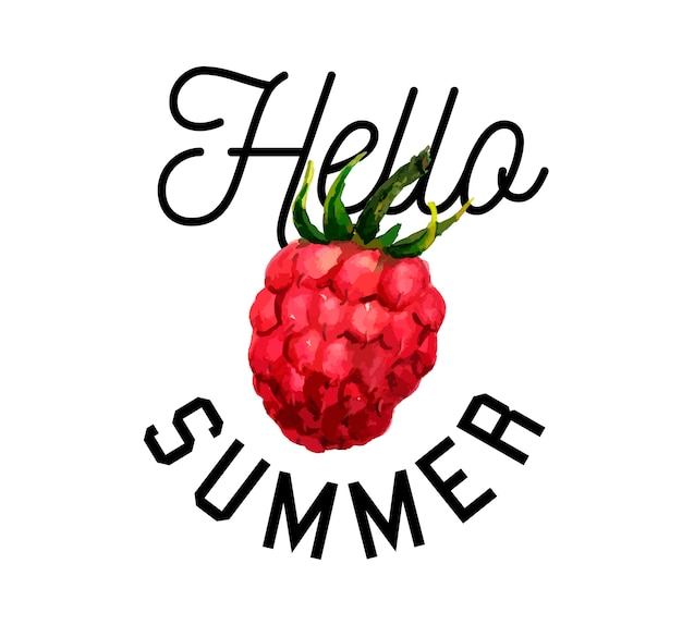 Himbeer aquarell illustration hallo sommer slogan