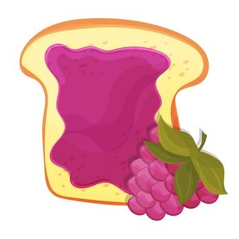 Himbeermarmelade auf toast mit gelee. im cartoon-stil gemacht. gesunde ernährung.