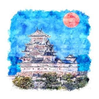 Himeji japan aquarell skizze hand gezeichnete illustration