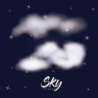 Himmel bewölkt plakat mit wolken über hintergrund des sternenklaren himmels Premium Vektoren