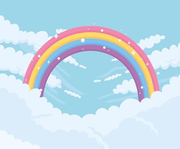 Himmel mit wolken und hellem regenbogen