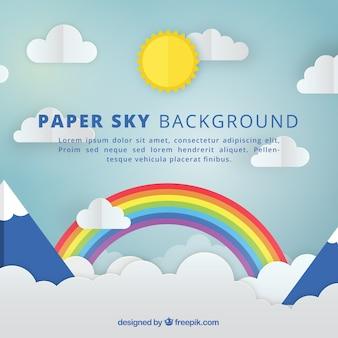 Himmel mit wolken und regenbogenhintergrund in der papierbeschaffenheit