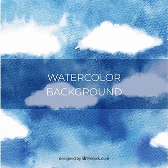 Himmel mit wolkenhintergrund in der aquarellart