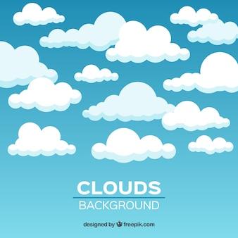 Himmel mit wolkenhintergrund in der flachen art