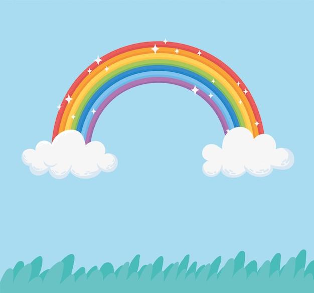 Himmel regenbogen wolken helle fantasie gras natur cartoon