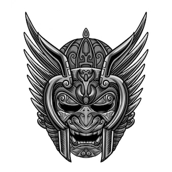 Himmel-silber-krieger-masken-vektor