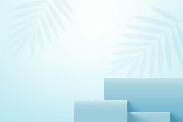 Himmelblaue produktanzeigebühnenplattform mit blattschatten