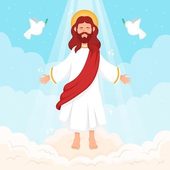 Himmelfahrtstag von jesus und tauben