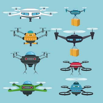 Himmellandschaftshintergrund stellte quadrocopters und drohnen ein