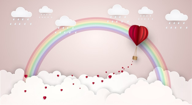 Himmelliebeswolken-regenbogen. vektor-illustration