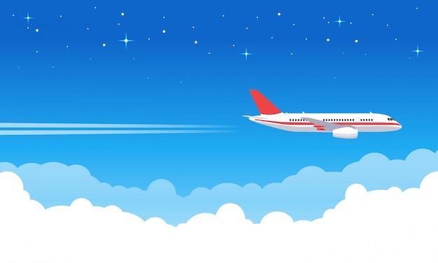 Himmelsflugzeuge. flugzeug, das im blauen himmel fliegt, flugjetflugzeug in den wolken, flugzeugurlaub oder transportreiseillustration. tripjet, flugtransport, transportflugzeug