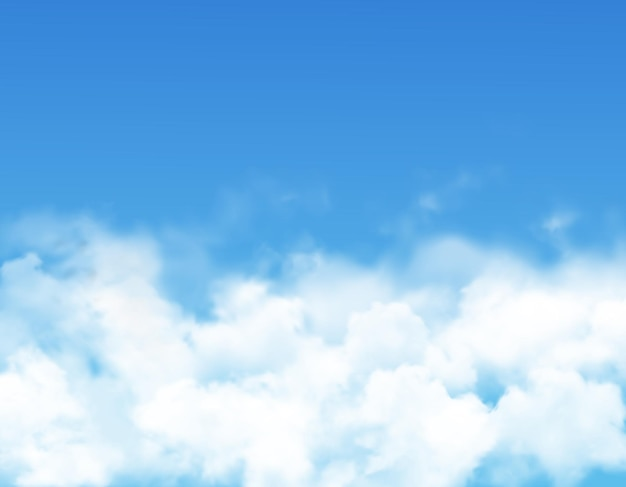 Himmelswolken oder nebel des blauen himmels mit realistischem weißem nebel, dampf