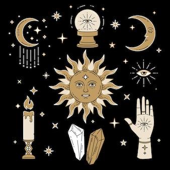 Himmlische magische illustration von symbolen und symbolen von sonnen-mond-kristallen bösen blick hexenhände