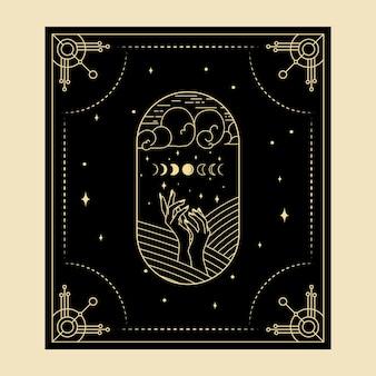 Himmlische magische tarotkarten esoterisch okkulter spiritueller leser hexerei hand mondphasensymbole