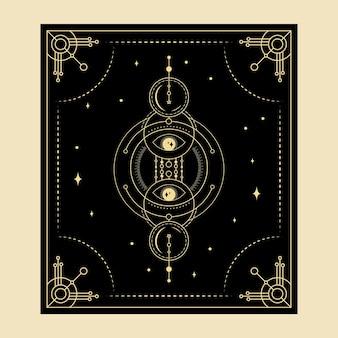 Himmlische magische tarotkarten esoterisch okkulter spiritueller leser hexerei kristallhände augensymbole