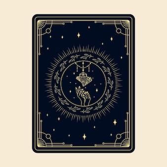 Himmlische magische tarotkarten esoterisch okkulter spiritueller leser hexerei magische kristallhände auge