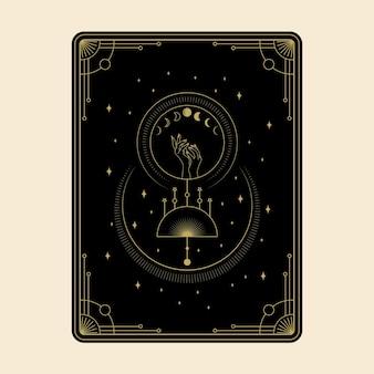 Himmlische magische tarotkarten setzen esoterische okkulte spirituelle leser hexerei magische kristallsymbole