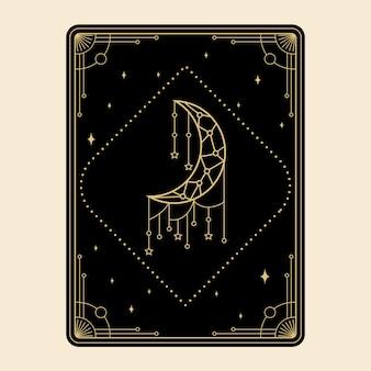 Himmlische magische tarotkarten setzen esoterische okkulte spirituelle leser hexerei magischer dekorativer mond