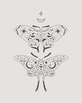 Himmlische motten oder schmetterlinge in der illustration im boho-stil