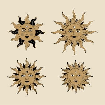 Himmlische sonne mit gesicht und geöffneten augen stilisierte zeichnung tarotkarte mystisches element