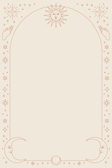 Himmlische symbole telefon hintergrund mit rahmen auf beige
