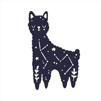 Himmlische tiere baby lama mystisches tier himmlischer lama