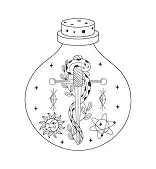 Himmlischer mystery-trank esoterische hexenflasche mit magischen kristallen, schlange und schwert im inneren