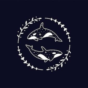 Himmlischer orca mit blumenkranz