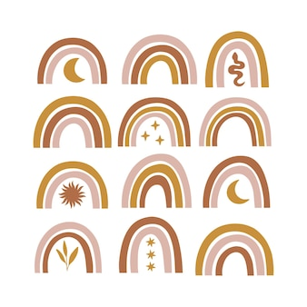 Himmlisches, mystisches modernes regenbogenset. boho illustration