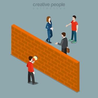Hindernis zwischen kunde und pr flach isometrisch