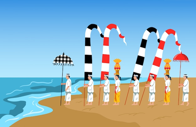 Hindu-bali feiert reinigungsritus