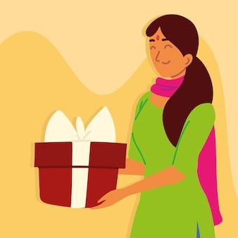 Hindu-frau mit geschenkbox