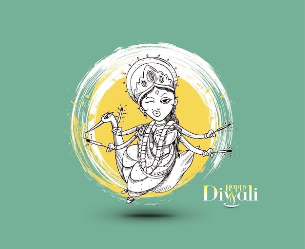 Hindu-gott laxmi mit text von happy diwali festival, handgezeichnete skizze vektor-illustration.