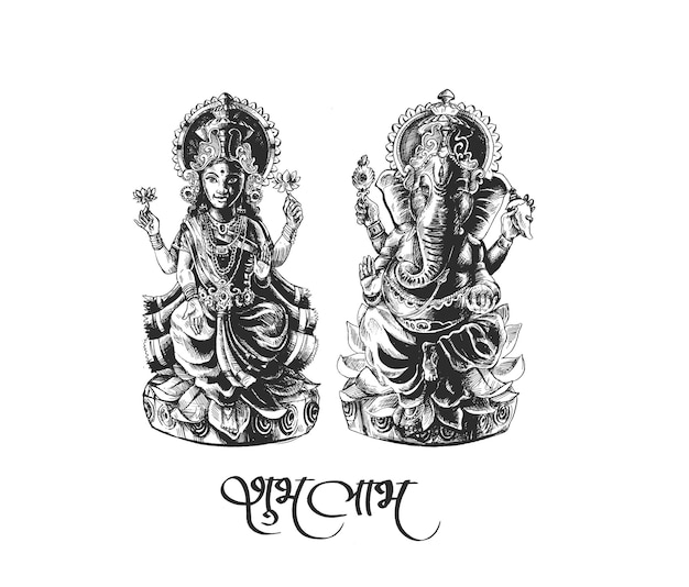 Hindu-gott laxmi und ganesh beim diwali-festival, handgezeichnete skizzen-vektor-illustration.